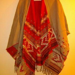 American Eagle reversible cozy southwestern poncho